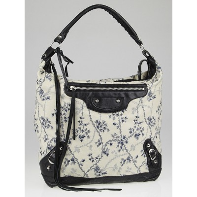 Balenciaga Floral Cotton and Black Chevre Leather Day Bag