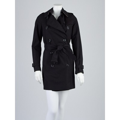 Burberry London Black Polyester Blend Mid-Length Belted Trench Coat Size 2
