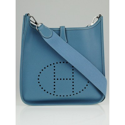 Hermes Blue Jean Epsom Leather Evelyne I PM Bag