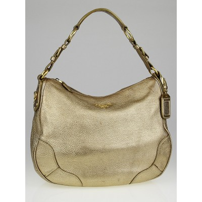 Prada Gold Vitello Daino Leather Hobo Bag
