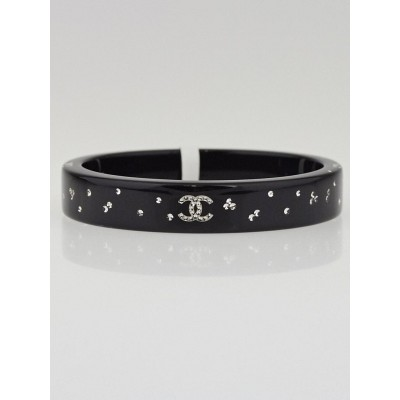 Chanel Black Resin and Crystal CC Logo Skinny Bangle Bracelet
