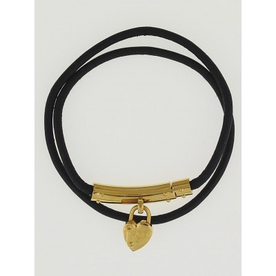 Hermes Black Leather Cord Goldtone Heart Bracelet