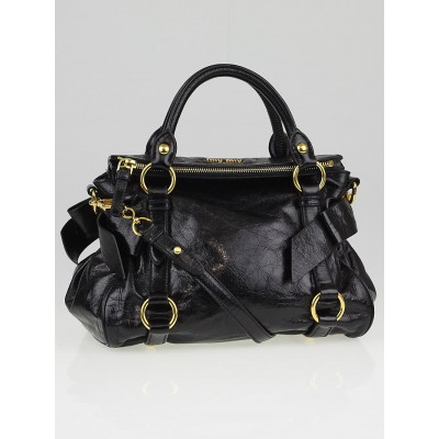 Miu Miu Black Vitello Lux Leather Mini Bow Top Handle Bag