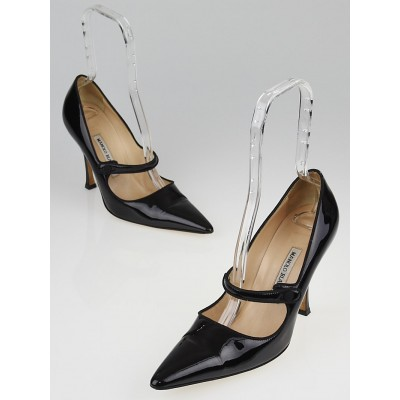 Manolo Blahnik Black Patent Leather Campari Mary Jane Pumps Size 9.5/40