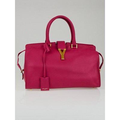 Saint Laurent Fuchsia Calfskin Leather Classic Medium Y Cabas Bag
