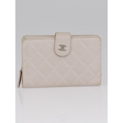 Chanel Pale Pink Quilted Lambskin Leather L-Zip Pocket Wallet