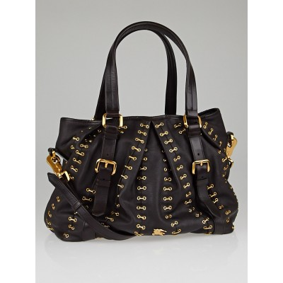 Burberry Brown Leather Metal Stitch Large Lowry Tote Bag