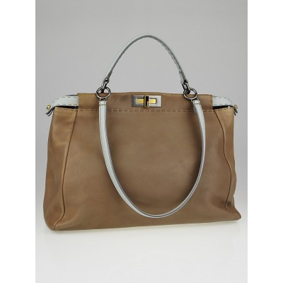 Fendi Natural Saddle Calf Leather / Aqua Selleria Leather Large Peekaboo Bag
