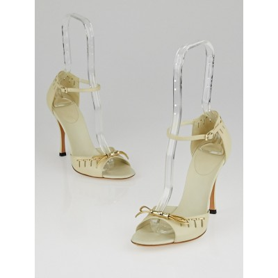 Gucci White Leather Open-Toe Bow Sandals Size 6.5B