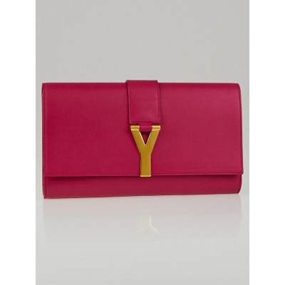 Saint Laurent Fuchsia Calfskin Leather Ligne Y Clutch Bag