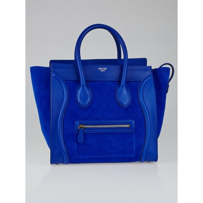 Celine Cobalt Smooth Calfskin Leather and Suede Mini Luggage Tote Bag