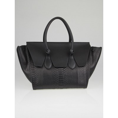 Celine Black Python Medium Tie Tote Bag