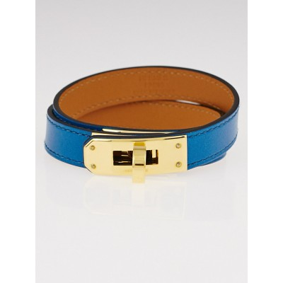 Hermes Blue Izmir Swift Leather Gold Plated Kelly Double Tour Bracelet Size M