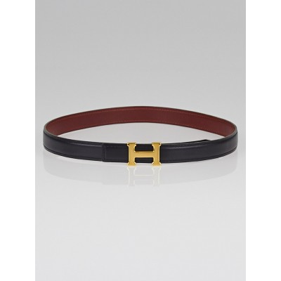 Hermes 18mm Black Box / Rouge H Chamonix Leather Gold Plated Constance H Belt Size 65