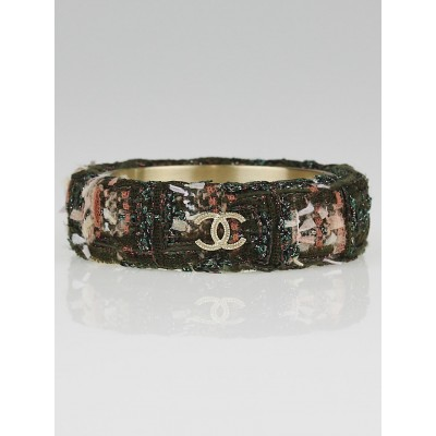Chanel Olive Tweed CC Wide Bangle Bracelet Size M