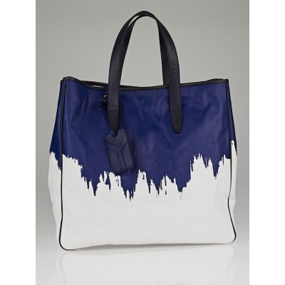 Yves Saint Laurent Blue/White Raspail Cascade Print Coated Canvas Tote Bag