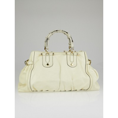 Gucci White Leather Bamboo Pop Large Satchel Tote Bag