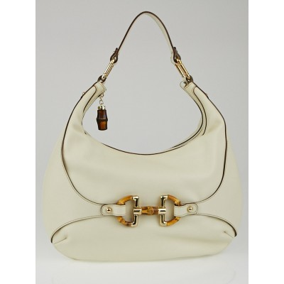 Gucci White leather Bamboo Horsebit Hobo Bag