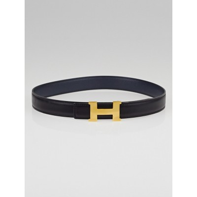 Hermes 24mm Black Box / Navy Blue Courchevel Leather Gold Plated Constance H Belt Size 65