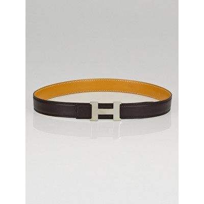 Hermes 24mm Chocolate Box / Vache Natural Leather Palladium Plated Constance H Belt Size 65