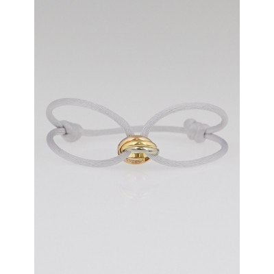 Cartier Light Grey Silk Cord and 18k Gold Trinity Bracelet