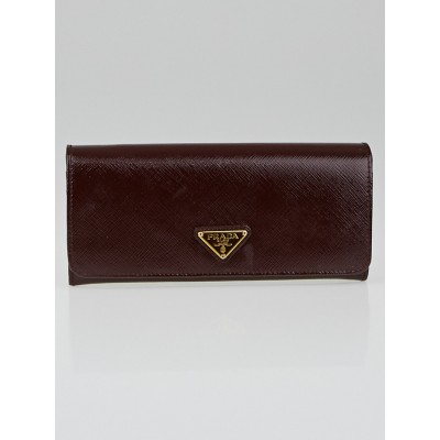 Prada Granato Saffiano Vernic Leather Long Continental Wallet 1M1132