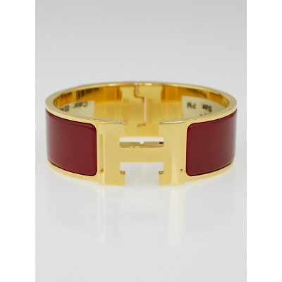Hermes Rouge Enamel Gold Plated Clic-Clac H PM Wide Bracelet
