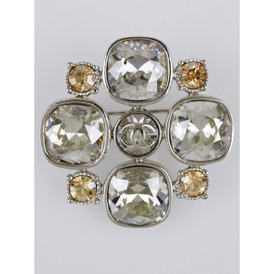 Chanel Silver Crystal CC Brooch