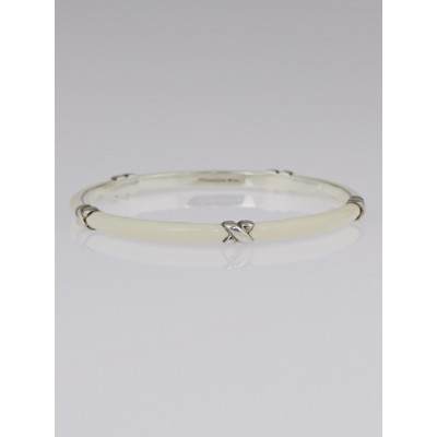 Tiffany & Co. White Enamel and Sterling Silver X Bangle Bracelet