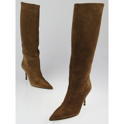 Gucci Toffee Suede Tall Bamboo Boots Size 9B
