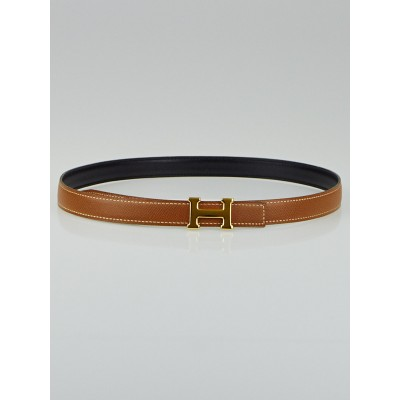 Hermes 18mm Gold Courchevel / Black Box Leather Gold Plated Constance H Belt Size 75