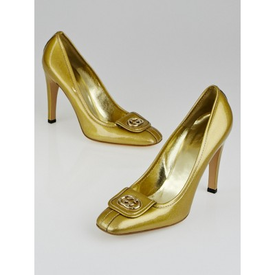 Gucci Gold Glitter Patent Leather Interlocking GG Pumps 9.5B