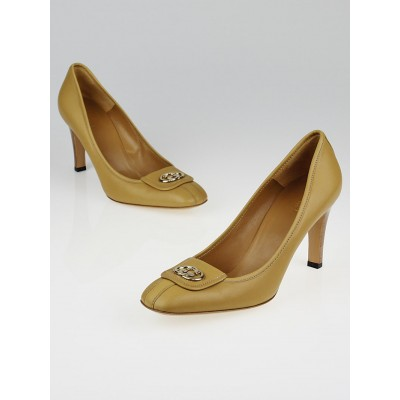 Gucci Beige Leather Interlocking GG Pumps Size 9.5/40