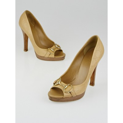 Gucci Beige Guccissima Leather Horsebit Peep Toe Pumps Size 8B