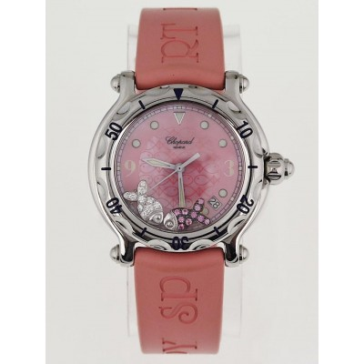 Chopard Pink Stainless Steel Happy Sport Happy Beach Fish Ladies Watch