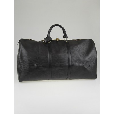 Louis Vuitton Black Epi Leather Keepall 55 Bag