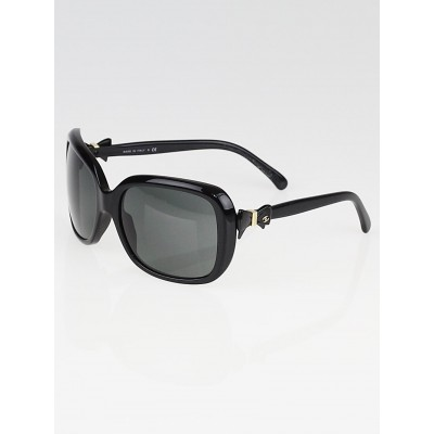 Chanel Black Plastic Frame Black Tint Bow Sunglasses-5171