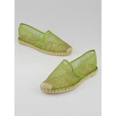 Valentino Green Lace Espadrille Flats Size 7.5/38