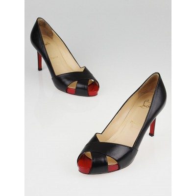 Christian Louboutin Black Patent Leather Shelley 85 Peep Toe Pumps Size 6.5/37