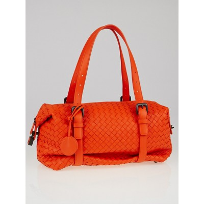 Bottega Veneta Tangerine Intrecciato Woven Nappa Leather Montaigne Bag