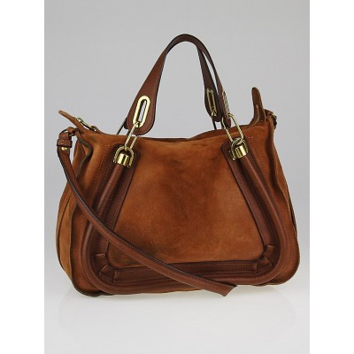 Chloe Brown Suede and Calfskin Leather Medium Paraty Bag