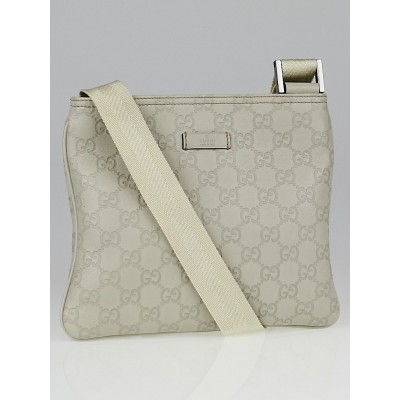 Gucci White Guccissima Leather Messenger Bag