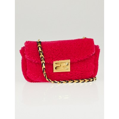 Fendi Fuchsia Shearling Mini Be Baguette Crossbody Bag