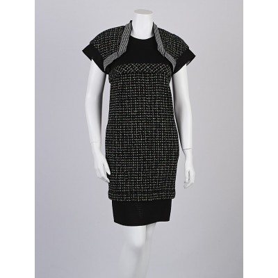 Chanel Black Nylon Blend Tweed and Mesh Short-Sleeve Dress Size 6/38