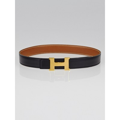 Hermes 24mm Black Box / Gold Courchevel Leather Gold Plated Constance H Belt Size 60
