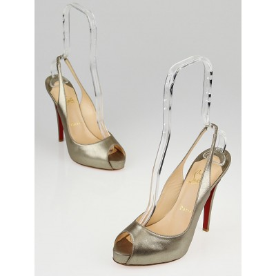 Christian Louboutin Alba Laminato Leather No Prive 120 Slingback Pumps 7.5/38