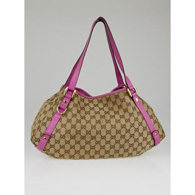 Gucci Beige/Pink GG Canvas Medium Abbey Tote Bag