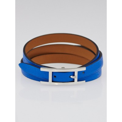 Hermes Blue Hydra Chamonix Leather Palladium Plated Hapi 3 MM Bracelet Size GM