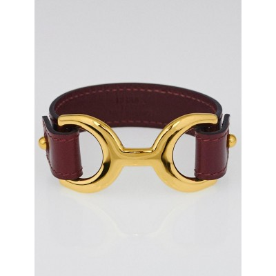Hermes Red Tadelakt Calfskin Leather Gold Plated Havane Bracelet Size M