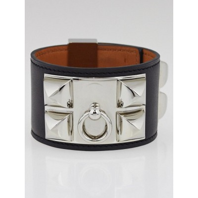 Hermes Black Chamonix Leather Palladium Plated Collier de Chien Cuff Bracelet
